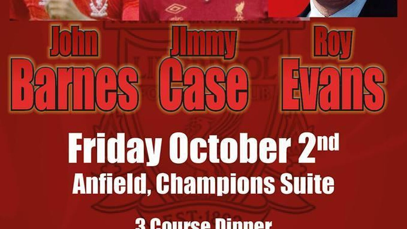Liverpool FC Legends Charity Evening with Barnes, Case and Evans